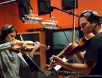 Recording strings at Faultline Studios. Phoito © Don Albonico